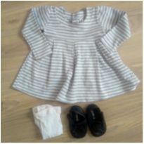 Vestido cinza - 6 a 9 meses - Renner