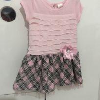 Vestido xadrez rosa e preto importado - 12 a 18 meses - Importada