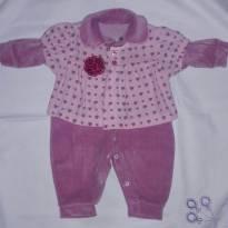 Macacão Rosa com Boina - 6 a 9 meses - Sanny baby