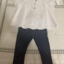 Conjunto calça jeans legging e bata - 12 a 18 meses - Zara Baby
