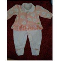 Macacão floral salmao - 0 a 3 meses - Aya Baby