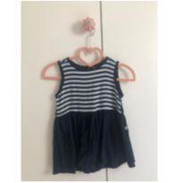 Vestido listrado azul marinho - 1 ano - Hering Kids