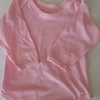 Body em algodão manga longa rosa - 3 a 6 meses - sem etiqueta