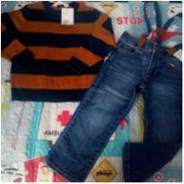 Calça + Suéter novos - 3 anos - OshKosh e H&M