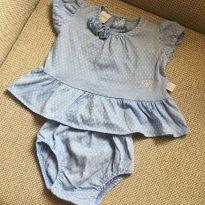 Vestido azul com calcinha - 0 a 3 meses - Ano Zero