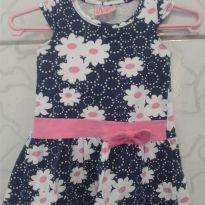Vestido azul de florzinha - 0 a 3 meses - Duduka