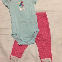Conjunto com body manga curta e calça Carter`s super fofo Tamanho 6 meses - 3 a 6 meses - Carter`s