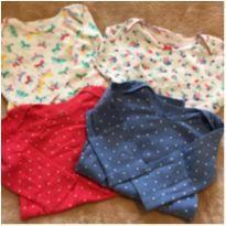Kit com 4 bodys manga longa Carters Tamanho 9 meses - 9 meses - Carter`s