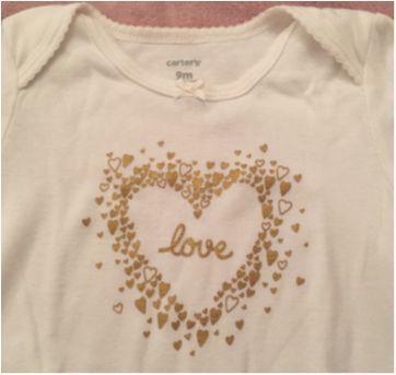Body Carters manga longa Off white com dourado tamanho 9 meses - 9 meses - Carter`s