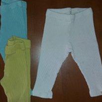 Kit 2 Calças legging Green em malha canelada off white e verde - 18 meses - Green