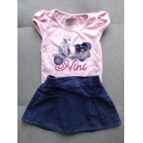 Conjunto menina blusa e saia Vespa - 1 ano - Nini e Bambini