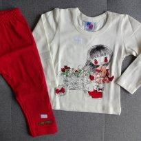 Conjunto blusa e legging florista tam 1 creme/vermelho - 1 ano - HDU Kids