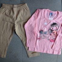 Conjunto blusa e legging florista tam 3 rosa/cáqui - 3 anos - HDU Kids