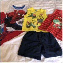 lotinho de verao! 4 camisetas regatas e 1 bermudinha - 2 anos - MARVEL e Bee Loop