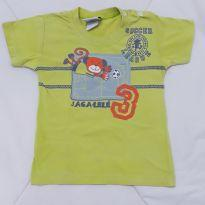 Camiseta verde macaquinho - 3 a 6 meses - Jaca lele