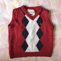 Colete lã vermelho - 3 a 6 meses - Um mais um