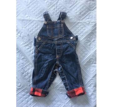 Jardineira jeans + body manga longa - 0 a 3 meses - Carter`s