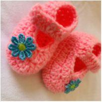 Sandália de crochê bebê - 04 - Artesanal