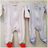 Kit 2 Macacao/pijama Malha Algodao Carters - Bebe Menina 6m - 3 a 6 meses - Carter`s
