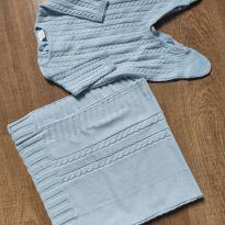 Macacão de tricô azul bebê - 0 a 3 meses - Baby fashion