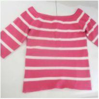Blusa de lã rosa,listrada! - 10 anos - Desconhecida