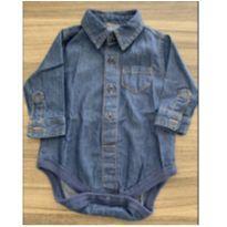 Body camisa jeans 6m - 6 meses - sem etiqueta
