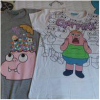 duas camisetas do clarencio - 10 anos - Cartoon Network