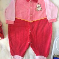 Macacão plush rosa - 6 meses - Azul e Rosa