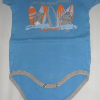 Body manga curta azul com estampa hipopotamos surfistas - 6 a 9 meses - Alô bebê