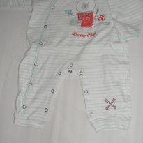 Macacão longo branco e verde - 3 a 6 meses - Baby Classic