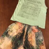 Conjunto Malwee camiseta regata e shorts abacaxi - T 1 - 12 a 18 meses - Malwee