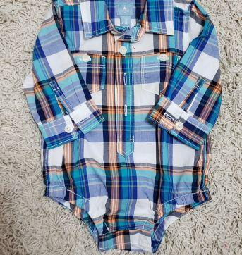 Camisa Body Gap Xadrez - 3 a 6 meses - Baby Gap e GAP