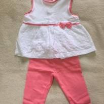 Conjuntinho Rosa e Branco - 9 meses - Chicco
