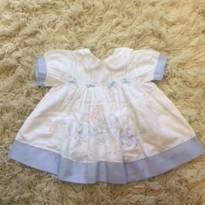 Vestido delicado azul e branco - 6 meses - Não informada