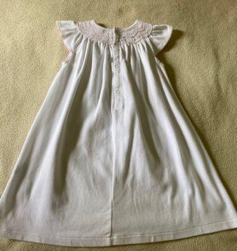 Vestido Branco com detalhe rosa - 18 meses - Baby Cottons