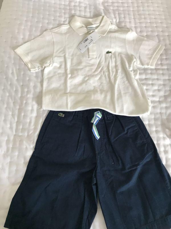 Conjunto Polo branca + bermuda azul marinho, marca Lacoste tamanho 10.  Nunca usado. Camiseta com etiqueta a737b16976