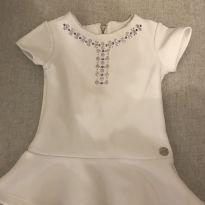 Vestidinho Branco Paola da Vinci - 3 meses - Paola Da Vinci