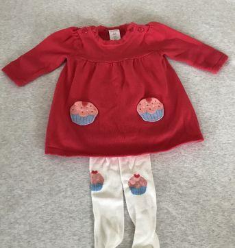 Conjunto vestido e meia calça cupcake - 0 a 3 meses - Gymboree
