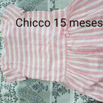 Vestidinho de listrinhas rosa e branco - 12 a 18 meses - Chicco