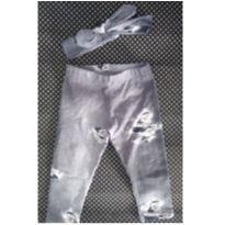 Calça Legging e Faixinha Fake Jeans - 0 a 3 meses - Letiti
