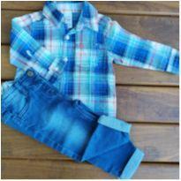 Calça jeans + Camisa Manga longa - 9 a 12 meses - Carter`s e TINY LITTLE - Importado da Australia