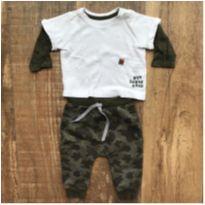 Conjunto Moletom + camiseta manga longa camuflado - 3 a 6 meses - Teddy Boom