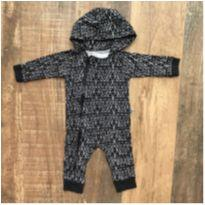 Macacão preto e branco Minimalista Baby - 6 a 9 meses - Minimalista Baby