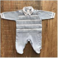 Macacão tricô - saída de maternidade azul claro - 0 a 3 meses - Milly Baby