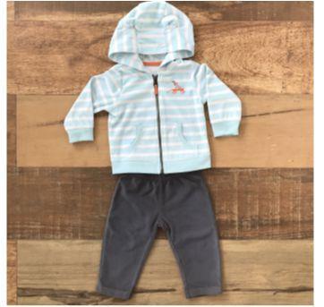 Conjunto fleece/plush Carters - azul branco e cinza - 9 a 12 meses - Carter`s