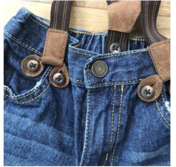 Calça jeans com suspensório Carters - 9 a 12 meses - Carter`s