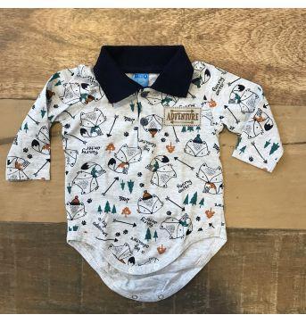 Body camisa algodão Raposinha - 3 a 6 meses - bito