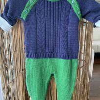 Macacão tricot marinho e verde + body com gola um charme - 0 a 3 meses - Laleblu