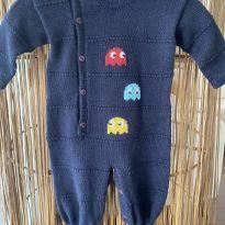Macacão tricot Pac- Mac fofo demais azul marinho - 0 a 3 meses - Nina & Maria