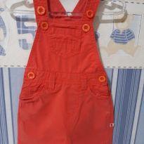 Jardineira em sarja vermelha menino - 3 meses - Teddy Boom